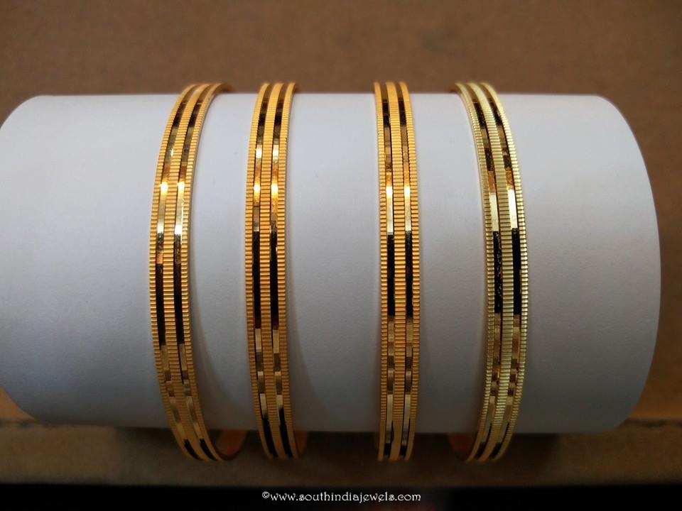 Daily Wear Gold Plain Bangles ~ South India Jewels