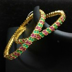Classic Gold Plated Ruby Emerald Bangle