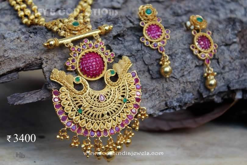Gold Plated Ruby Necklace from Honey B Collections