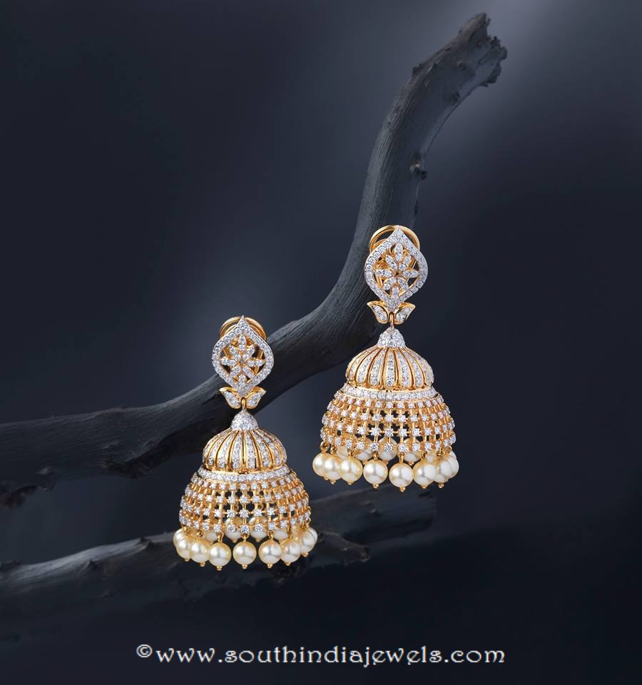 Gold Stone Jhumka from Creations Jewellery
