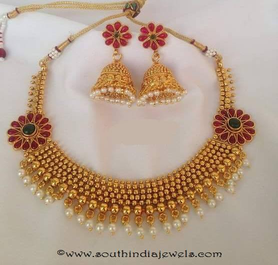 Imitation Choker with side mogappu with tejus collections
