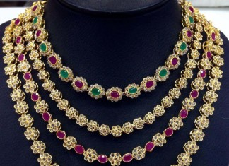 Imitattion Ruby Emerald uncut necklace from swarnakshi