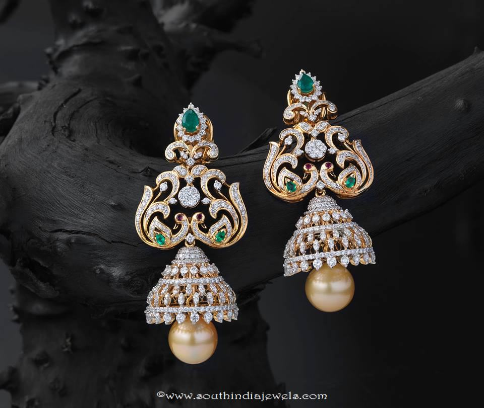 Latest model gold jhumka from creations jewellery