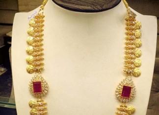 Long gold Kasumalai Necklace Set with Side Lockets