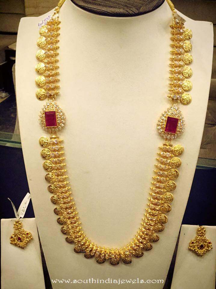 Long gold Kasumalai Necklace Set with Side Lockets
