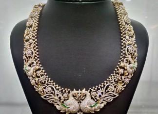 Peacock theme based diamond necklace naj