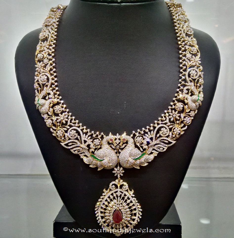 Peacock theme based diamond necklace naj