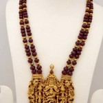Gold Ruby Mala with Temple Pendant