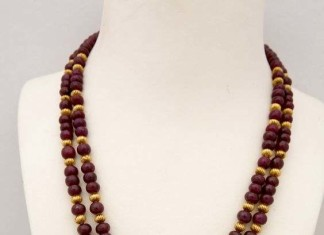 Ruby mala with temple pendant from Tibarumals