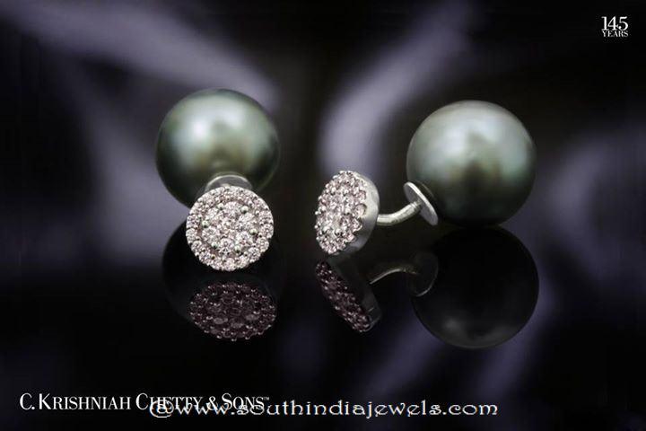 double sided diamond ear stud from C Krishniah chetty sons