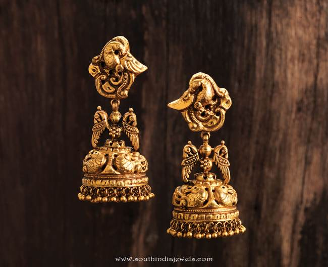 Gold Antique Jhumka from Karpagam Jewellers