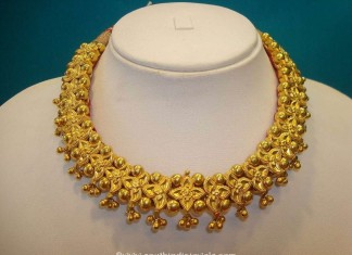Gold Floral Choker Necklace Design