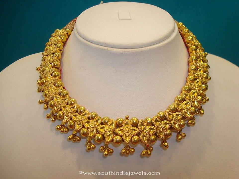 Gold Floral Necklace Design ~ South India Jewels
