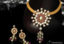 Gold Kundan Short Necklace from Tibarumals