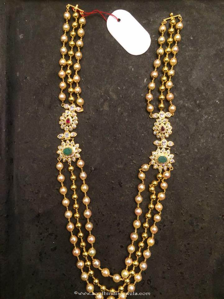 Gold Pearl Haram With Side Mogappu South India Jewels
