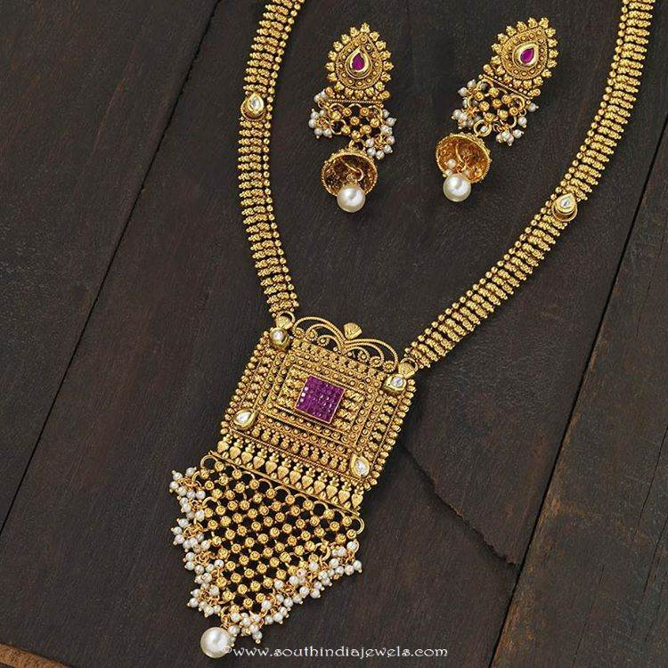 gold plated antique long necklace from kushal fashion jewellery & Gold Plated Antique Long Necklace ~ South India Jewels