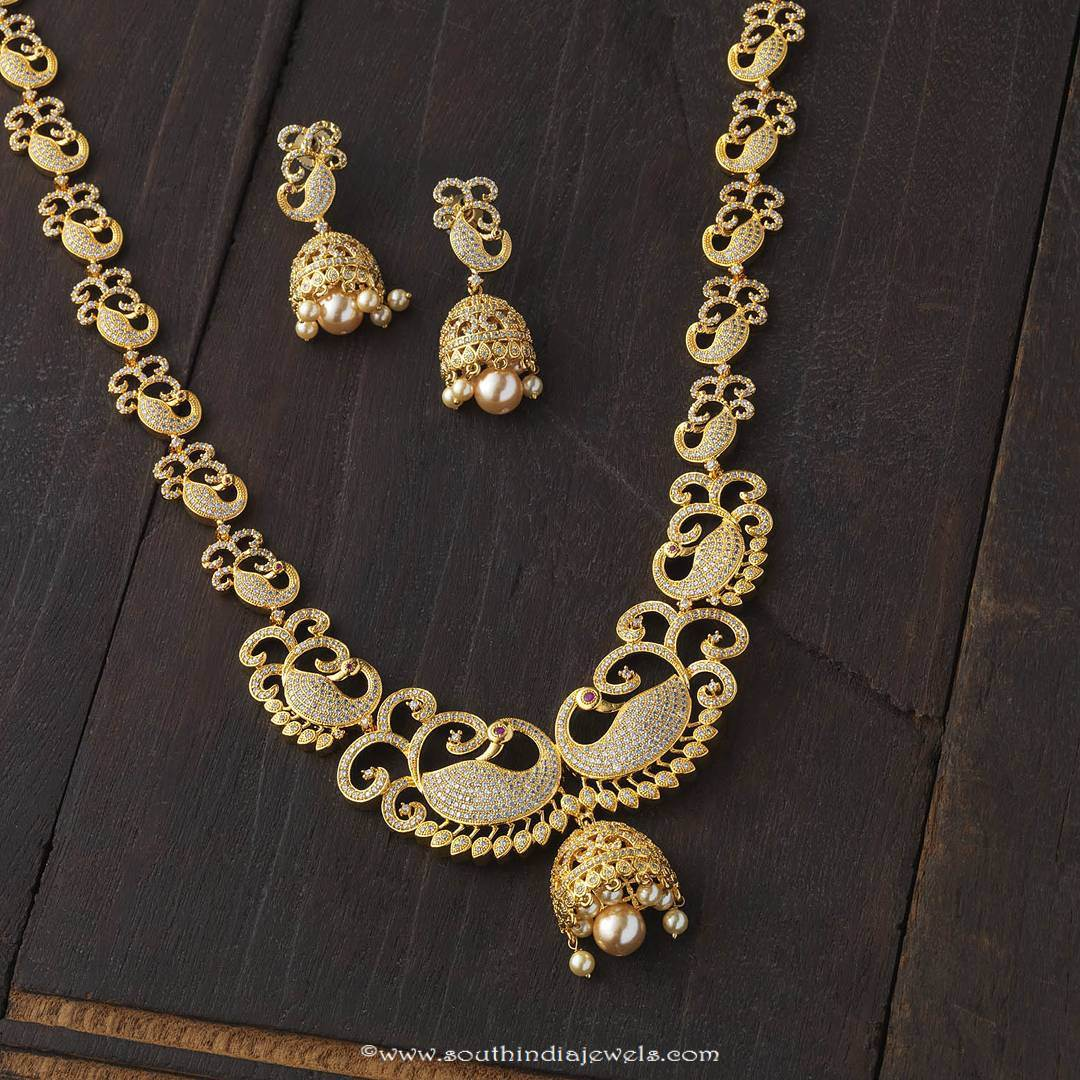 gold plated haram with jhumka south india jewels