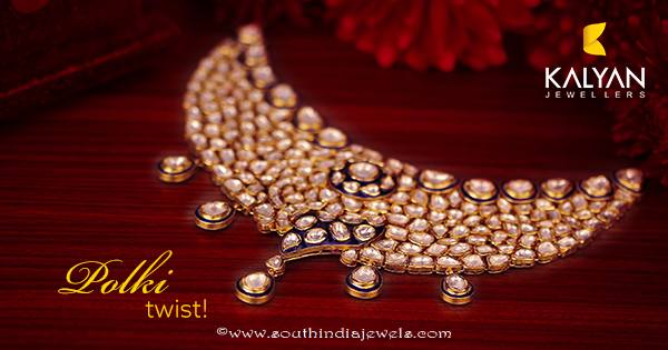 Kalyan Jewellers gold polki necklace