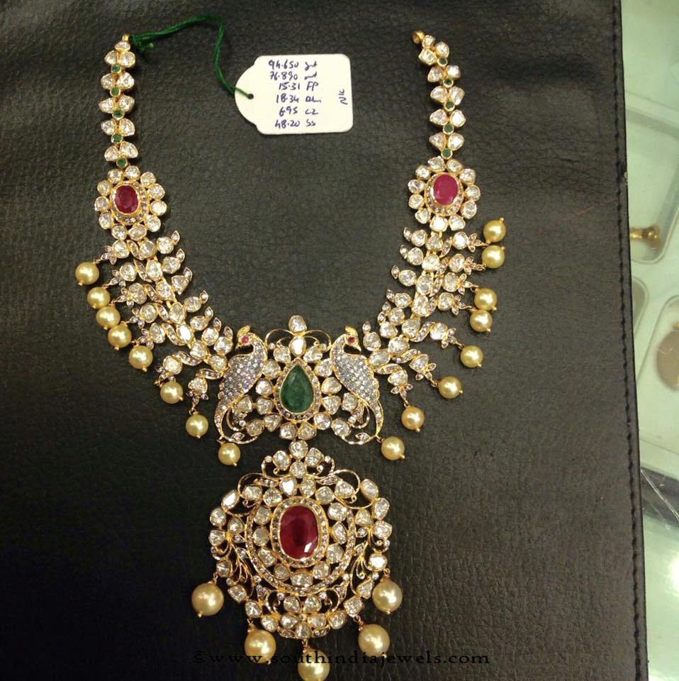 22k gold polki pachi necklace