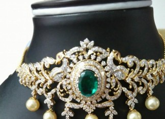 Diamond Emerald Choker from Ishwarya Diamonds