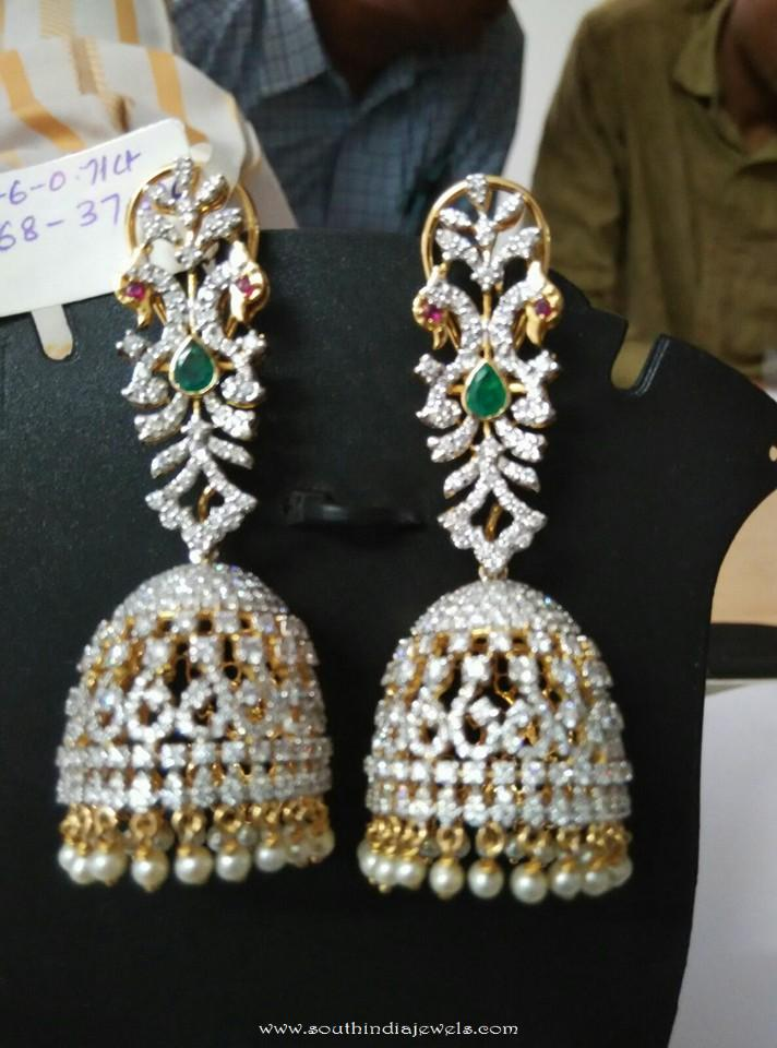 Diamnd Emerald Jhumka from Ishwarya Diamonds