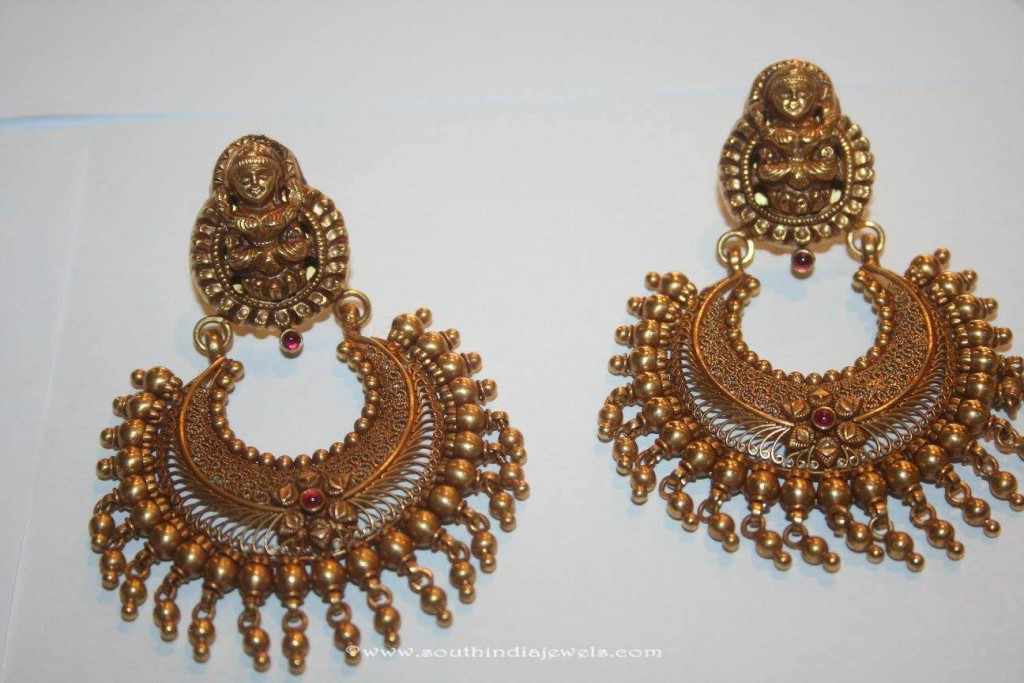Gold Antique Chandbali from Prakruthi
