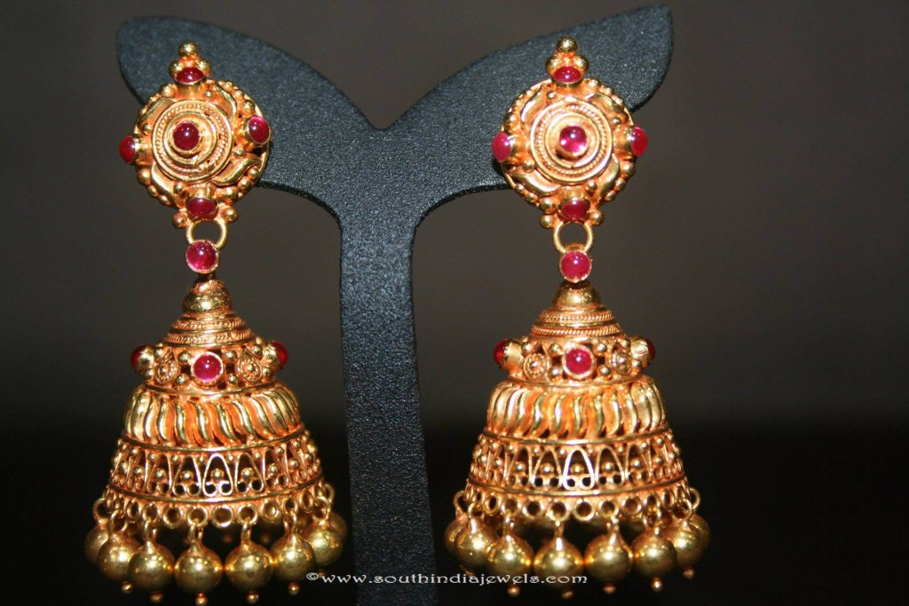 Gold Jhumki Designs from Prakurthi