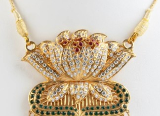 Gold Lotus Pendant From Senthil Murugan Jewellers