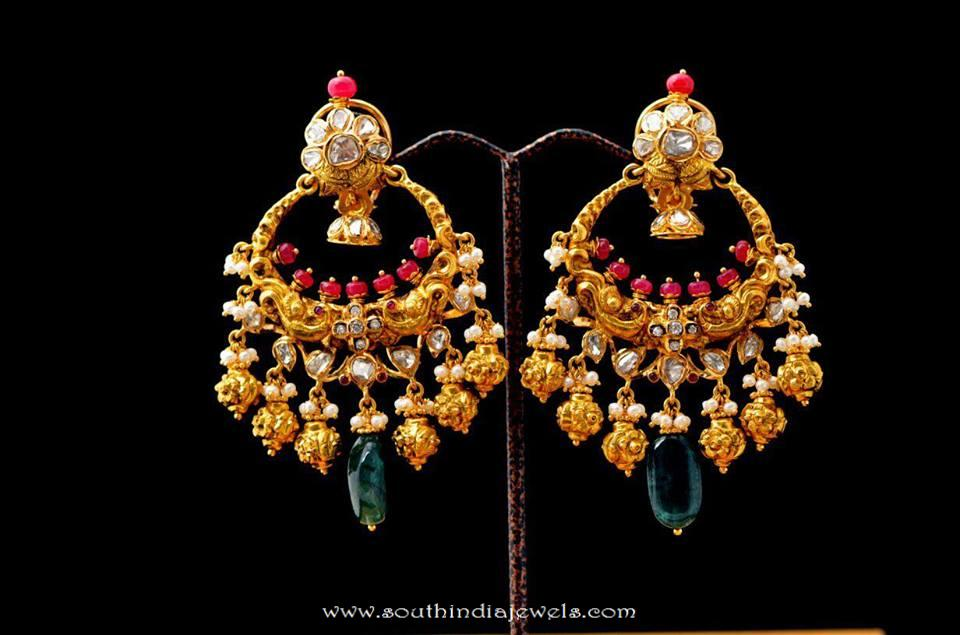 Gold Antique Chandbali Design