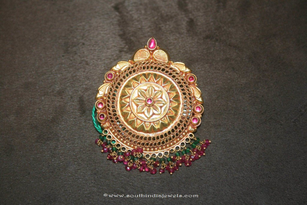 Gold Antique Floral Pendant Prakruthi