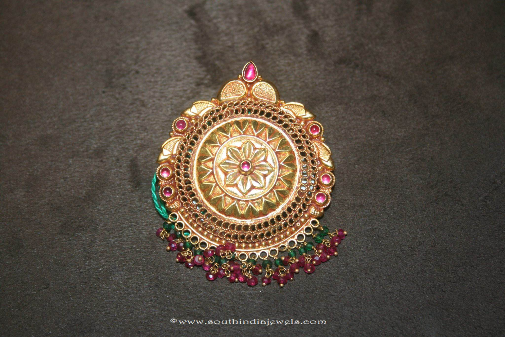 Gold antique floral pendant from prakruthi south india jewels gold antique floral pendant prakruthi mozeypictures Gallery