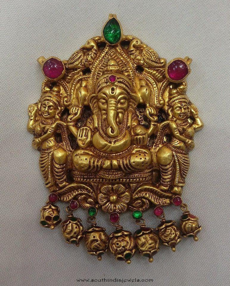 Gold Antique Ganesh Pendant From Vijay Jewellers