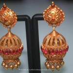 Gold Antique Ruby Jhumka from Prakurthi