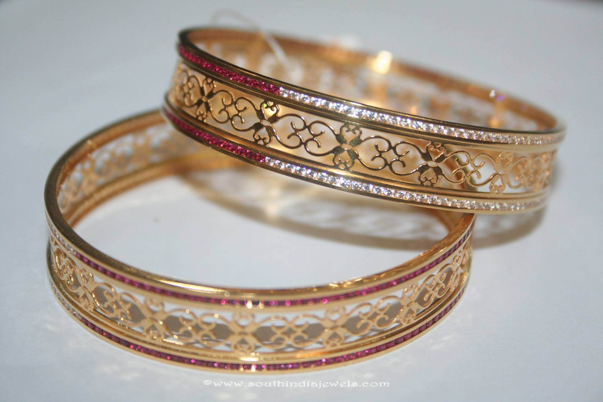 Gold Bangles with White & Red Stones ~ South India Jewels