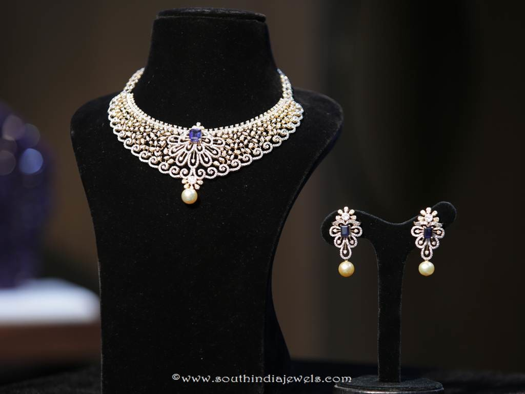 Gold Diamond Necklace Design From Manepally Jewellers