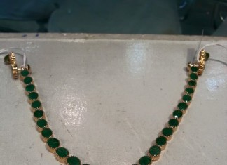 Gold Emerald Attigai from Shubham Jewellers