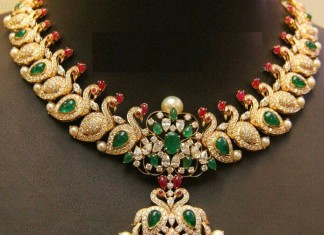 Gold Emerald Peacock Necklace from Anagha Jewellery