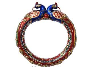 Gold Enamel Kada Bangle