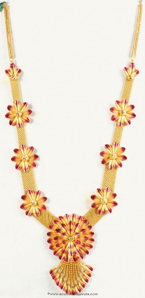 Gold Floral Long Necklace from Senthil Murugan Jewellers