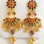 Gold Fancy Stone Earrings Senthil Murugan Jewellers