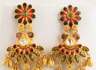 Gold Fancy Stone Earrings Senthil Murugan Jewellers