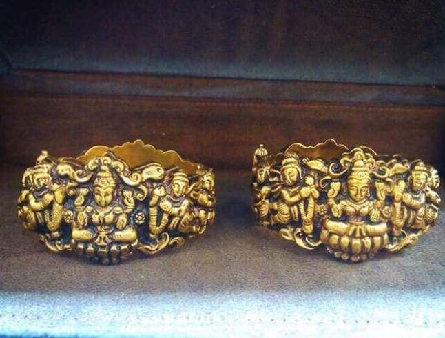 Gold Lakshmi Kada Bangle From Dhanlaxmi Jewellers