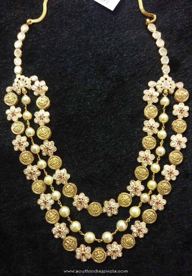 Gold Multi-layer floral necklace from Vijay Jewellers