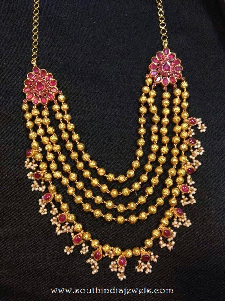 Gold Multilayer Ruby Haram From VRAJ Jewellers