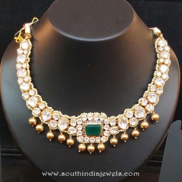 Gold Stone Necklace From Dhanlaxmi Jewellers