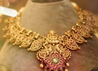 Gold Peacock Necklace from Anagha Jewellery