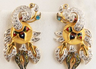 Gold Peacock Stone Earrings from Senthil Murugan Jewellers