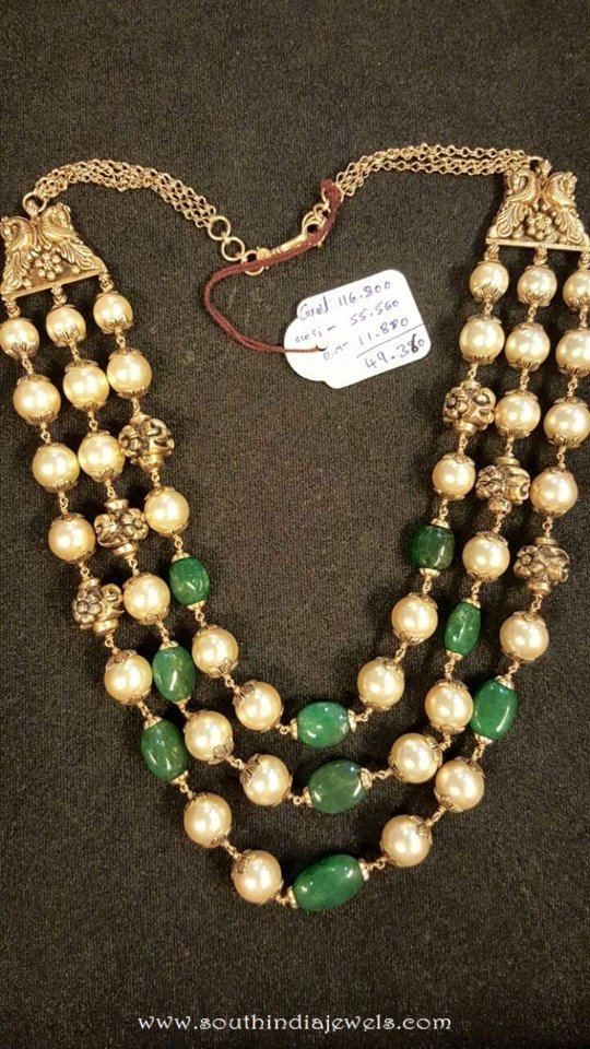 Gold Pearl Emerald Mala from Dhanlaxmi Jewellers