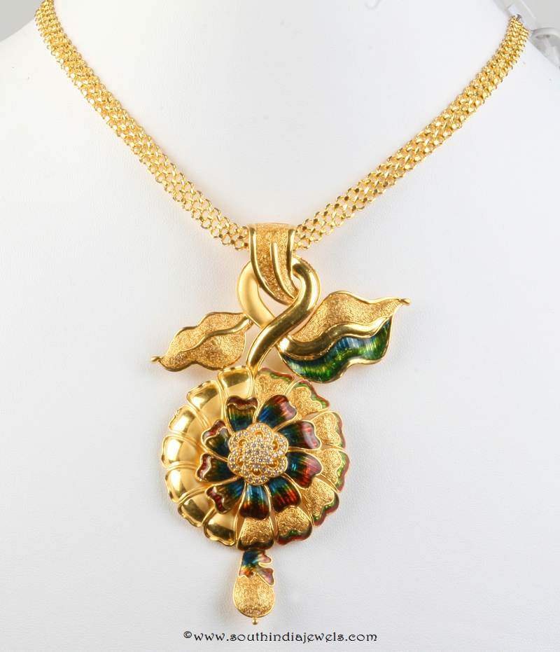 Gold Short Floral Necklace from Senthil Murugan Jewellers