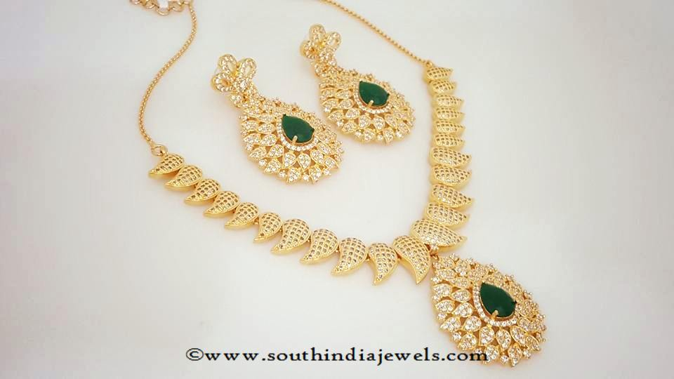 Imitation Necklace with Green Stones